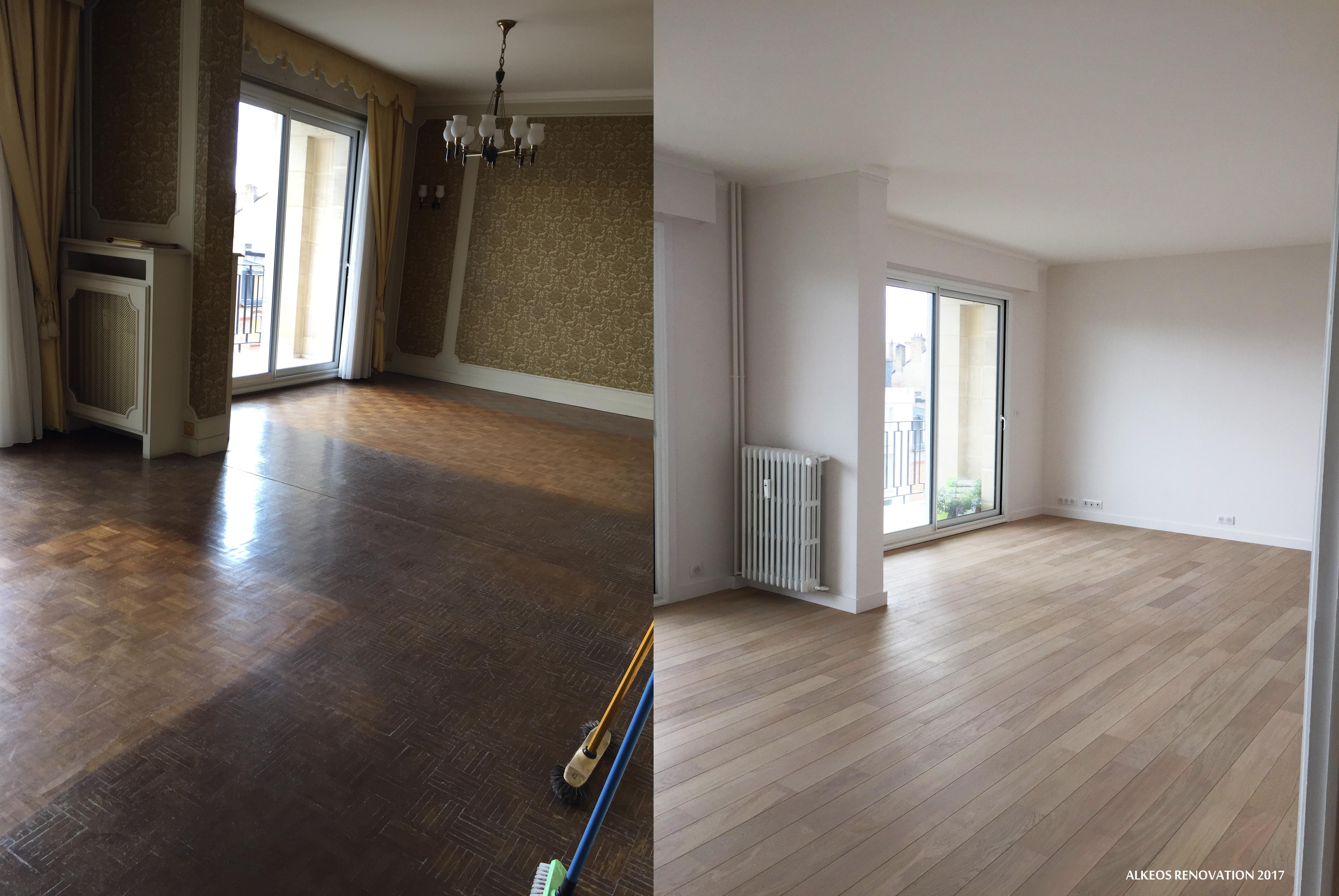 Moderne Alkéos Rénovation Reims Avant Après Salon Parquet – Alkéos WE-25